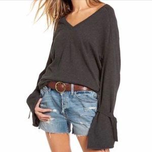 Treasure & Bond Gray Bell-Sleeve V-Neck Sweater